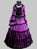 cheap Historical & Vintage Costumes-Rococo Victorian Ruffle Dress Costume Women's Dress Party Costume Masquerade Purple Vintage Cosplay Satin Long Sleeve Poet Sleeve Floor Length Long Length Ball Gown