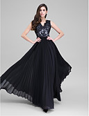 cheap Evening Dresses-A-Line V Neck Floor Length Chiffon / Lace Bodice See Through Prom / Formal Evening Dress with Lace / Sash / Ribbon by TS Couture®