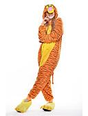 preiswerte Hübsche sexy Damenkleidung-Erwachsene Kigurumi-Pyjamas Tiger Pyjamas-Einteiler Polar-Fleece Gelb Cosplay Für Herren und Damen Tiernachtwäsche Karikatur Halloween Fest / Feiertage