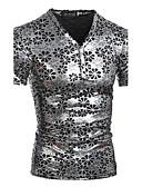 baratos Camisetas & Regatas Masculinas-Homens Camiseta - Esportes Punk & Góticas Estampado, Floral Algodão Delgado / Manga Curta