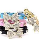 cheap Luxury Watches-Cat Dog Collar Adjustable / Retractable Rhinestone Bowknot PU Leather Black Blue Pink Golden