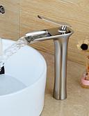 preiswerte Edelstahl-Waschbecken Wasserhahn - Wasserfall Gebürsteter Nickel Mittellage Einhand Ein Loch / Messing