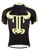 baratos Calcinhas-ILPALADINO Homens Manga Curta Camisa para Ciclismo - Preto / amarelo Moto Camisa / Roupas Para Esporte, Secagem Rápida, Resistente Raios