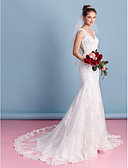 cheap Wedding Dresses-Mermaid / Trumpet Sweetheart Neckline Court Train Lace Over Tulle Made-To-Measure Wedding Dresses with Appliques by LAN TING BRIDE® / See-Through