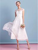 baratos Vestidos de Casamento-Linha A Ilusão Decote Longuette Organza Vestidos de casamento feitos à medida com Laço / Apliques / Renda de LAN TING BRIDE®