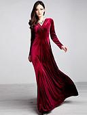 رخيصةأون فساتين للنساء-فستان نسائي قياس كبير متموج راقي قطن / مخمل طويل للأرض لون سادة V رقبة مناسب للخارج