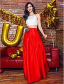 זול שמלות נשף-גזרת A / שני חלקים רצועות ספגטי באורך הקרסול סאטן שני חלקים מסיבת קוקטייל / נשף רקודים / ערב רישמי שמלה עם חרוזים / תחרה על ידי TS Couture®