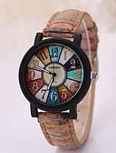 baratos Relógio Elegante-Homens Relógio de Pulso / Relógio Madeira Relógio Casual Couro Banda Amuleto Preta / Branco / Tianqiu 377