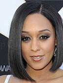 halpa Kravatit ja rusetit-Synteettiset peruukit Suora Synteettiset hiukset Musta Peruukki Naisten Lyhyt Suojuksettomat