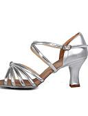 hesapli Gelin Annesi Elbiseleri-Kadın's Saten / Yapay Deri Sandaletler Toka Stiletto Topuk Kişiselleştirilmiş Dans Ayakkabıları Gümüş / Altın / Düğün / Parti ve Gece