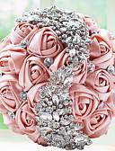 """baratos Vestidos de Casamento-Bouquets de Noiva Buquês Casamento Festa / Noite Miçangas Renda Strass Poliéster Cetim Espuma 9.84""""(Aprox.25cm)"""