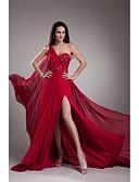 Χαμηλού Κόστους Βραδινά Φορέματα-Γραμμή Α Ένας Ώμος Ουρά μέτριου μήκους Σιφόν Κοκτέιλ Πάρτι / Επίσημο Βραδινό Φόρεμα με Χάντρες / Κρυστάλλινη λεπτομέρεια με TS Couture®