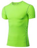 זול Jackets-בגדי ריקוד גברים טישרט לריצה / חולצה צמודה - אדום, ירוק, כחול ספורט טי שירט / צמרות כושר וספורט, חדר כושר, להתאמן שרוולים קצרים לבוש אקטיבי ייבוש מהיר, תומך זיעה