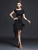 hesapli Latin Dans Giysileri-Latin Dansı Elbiseler Kadın's Performans Naylon / ChinIon Püsküllü Kısa Kol Yüksek Elbise