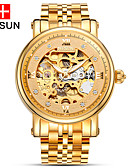 cheap Mechanical Watches-nesun Men's Skeleton Watch Hollow Engraving Stainless Steel Band Charm Gold / Automatic self-winding
