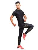 זול חלקים עליונים לגברים-GETMOVING בגדי ריקוד גברים / בגדי ריקוד נשים טישרט ומכנסיים לריצה - שחור / צהוב ספורט ספנדקס אימונית / שכבות בסיס / בגדים צמודים יוגה,