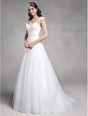 olcso Menyasszonyi ruhák-A-vonalú Szív-alakú Udvari uszály Csipke / Tüll Made-to-measure esküvői ruhák val vel Rátétek / Cakkos által LAN TING BRIDE®