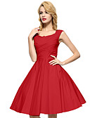 cheap Evening Dresses-Maggie Tang Women's Plus Size Vintage A Line Dress - Solid Colored Square Neck