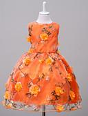 tanie Sukienki dla dziewczynek-Dzieci Dla dziewczynek Kwiaty Wyjściowe / Weekend Kwiaty Bez rękawów Poliester Sukienka Pomarańczowy 140