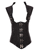 cheap Corsets-Women's Lace Up Plus Size Overbust Corset-Solid