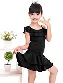 preiswerte Kleider für die Blumenmädchen-Latein-Tanz Austattungen Leistung Milchfieber Rüschen Kurze Ärmel Normal Top / Rock / Latintanz
