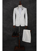 cheap Men's Pants & Shorts-White Pattern Tailored Fit Polyester Suit - Peak Single Breasted One-button