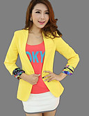 cheap Women's Blazers & Jackets-Women's Daily Casual Date Street chic Spring/Fall Jacket,Solid Shirt Collar Long Sleeve Regular Polyester