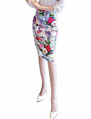 cheap Women's Skirts-Women's Going out Street chic Plus Size Bodycon Skirts - Floral, Split Print
