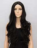 preiswerte Tanzzubehör-Synthetische Perücken Wellen Synthetische Haare Mittelscheitel Schwarz Perücke Damen Lang Schwarz