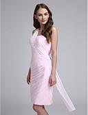 cheap Bridesmaid Dresses-Sheath / Column One Shoulder Knee Length Chiffon Bridesmaid Dress with Side Draping / Criss Cross by LAN TING BRIDE®