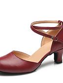 preiswerte Cocktailkleider-Damen Schuhe für modern Dance Leder Absätze Schnalle Blockabsatz Maßfertigung Tanzschuhe Schwarz / Rot / Innen / Praxis