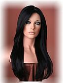 رخيصةأون قمصان نسائية-الاصطناعية الباروكات مستقيم شعر مستعار صناعي أسود شعر مستعار للمرأة طويل دون غطاء أسود