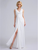 cheap Men's Belt-Sheath / Column V Neck Floor Length Chiffon Bridesmaid Dress with Ruched by LAN TING BRIDE®