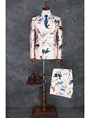 ieftine Costume-Roz Tipar Slim Fit Poliester Costum - Cresătură Slim Sacou cu 2 Nasturi Orizontali / Pană / Blană