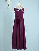 cheap Mother of the Bride Dresses-Sheath / Column Straps Ankle Length Chiffon Junior Bridesmaid Dress with Ruched by LAN TING BRIDE® / Natural