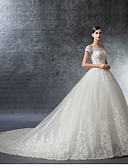 cheap Wedding Dresses-Ball Gown Off Shoulder Cathedral Train Satin / Lace Over Tulle Made-To-Measure Wedding Dresses with Crystal / Appliques / Ruffle by LAN TING Express / Illusion Sleeve