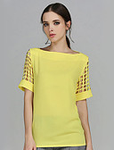 baratos Camisas Femininas-Mulheres Tamanhos Grandes Blusa Moda de Rua Vazado, Sólido Decote Canoa / Verão