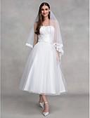 baratos Vestidos de Casamento-Linha A Sem Alças Até o Tornozelo Tule Vestidos de casamento feitos à medida com Cruzado de LAN TING BRIDE® / Vestidos Brancos Justos