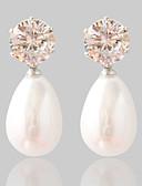 abordables Robes à Fleurs pour Filles-Boucles d'oreille Clou Femme Diamant synthétique Perle Mode Bijoux Argent pour Mariage Soirée