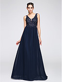cheap Prom Dresses-A-Line V Neck Floor Length Chiffon Open Back Prom / Formal Evening Dress with Appliques by TS Couture®