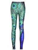 abordables Leggings para Mujer-Mujer Estampado Legging - Plumas, Estampado