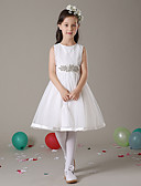 cheap Wedding Veils-A-Line Knee Length Flower Girl Dress - Tulle Sleeveless Jewel Neck with Sash / Ribbon by LAN TING Express