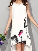 abordables Biquinis y Bañadores para Mujer-Mujer Tallas Grandes Tejido Oriental Algodón Corte Ancho Vestido - Estampado, Floral Hasta la Rodilla