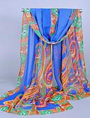 baratos Cachecol Feminino-Mulheres Férias Chiffon, Retângular - Estampado Tribal / Branco / Azul / Laranja / Púrpura / Rosa