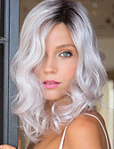cheap Historical & Vintage Costumes-Synthetic Wig Wavy Synthetic Hair Gray Wig Silver grey