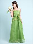 Χαμηλού Κόστους Λουλουδάτα φορέματα για κορίτσια-Γραμμή Α / Πριγκίπισσα Λεπτές Τιράντες Μακρύ Οργάντζα / Σατέν Φόρεμα Νεαρών Παρανύμφων με Χάντρες / Δαντέλα / Ζώνη / Κορδέλα με LAN TING BRIDE® / Άνοιξη / Καλοκαίρι / Φθινόπωρο / Χειμώνας