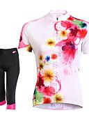 billige Kjoler i plus størrelser-TASDAN Dame Kortærmet Cykeltrøje og shorts - Sort Cykel Shorts Trøje Tøjsæt, 3D Måtte, Hurtigtørrende, Åndbart, Svedreducerende,
