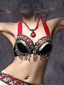 Χαμηλού Κόστους Ρούχα χορού της κοιλιάς-Χορός της κοιλιάς Μπλούζες Γυναικεία Επίδοση Βαμβάκι / Πολυεστέρας / Μέταλλο Κουμπί / Κέρματα Αμάνικο Χαμηλή Μέση Σουτιέν