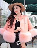 olcso Szőrmekabát-Vintage Női Extra méret Kabát - Egyszínű, Fur Trim Poliuretán