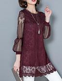 hesapli Kadın Üstleri-Kadın's Pamuklu Polyester Dantel, Solid Vintage Büyük Bedenler Bluz